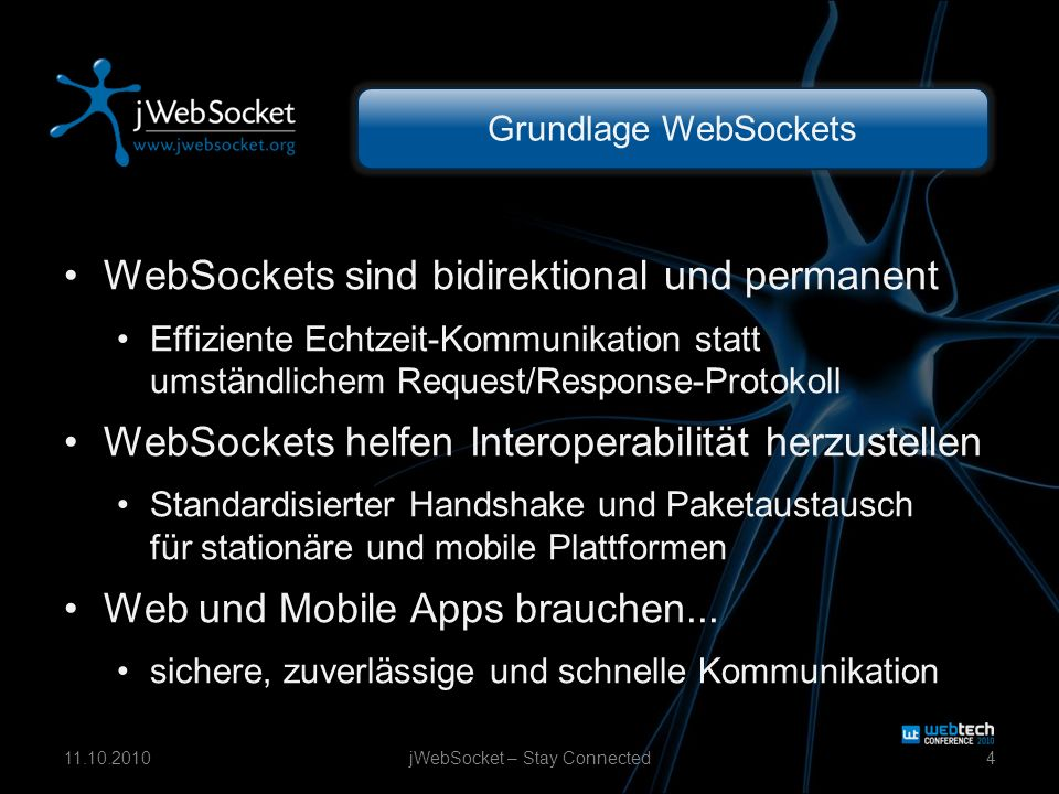 Grundlage WebSockets WebSockets sind bidirektional und permanent Effiziente Echtzeit-Kommunikation statt umständlichem Request/Response-Protokoll WebSockets helfen Interoperabilität herzustellen Standardisierter Handshake und Paketaustausch für stationäre und mobile Plattformen Web und Mobile Apps brauchen...