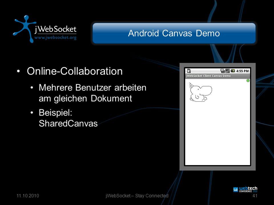 Android Canvas Demo Online-Collaboration Mehrere Benutzer arbeiten am gleichen Dokument Beispiel: SharedCanvas jWebSocket – Stay Connected4111.10.2010