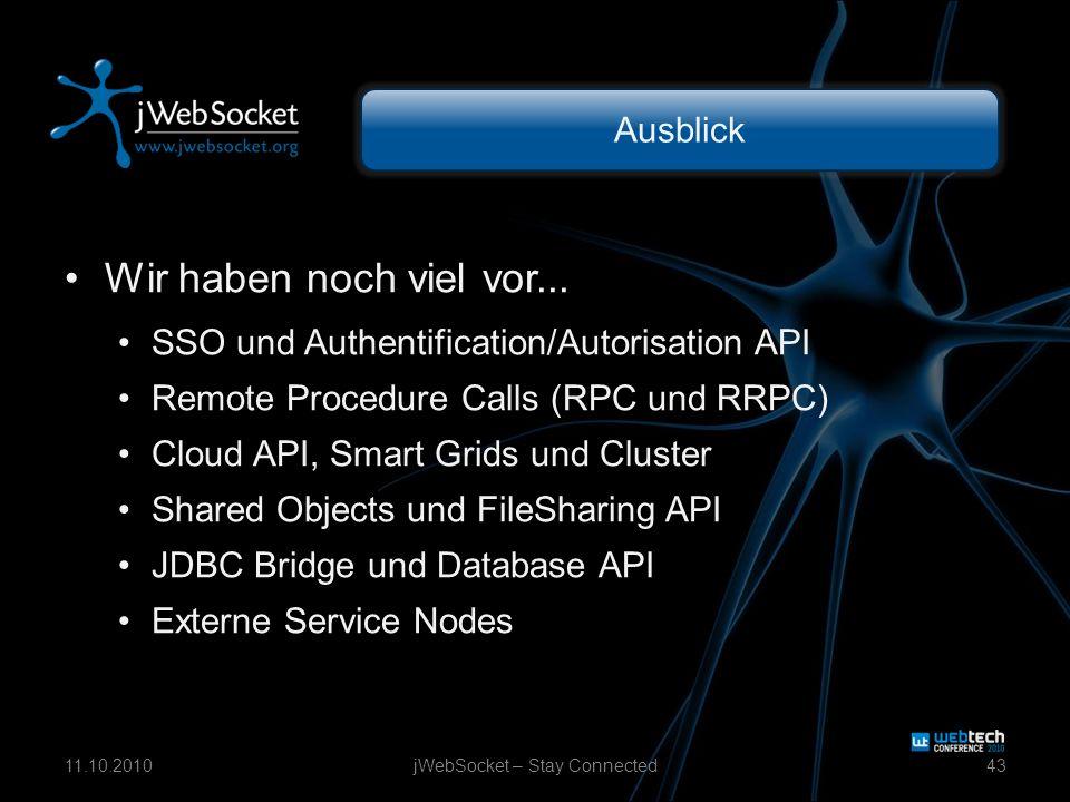 Ausblick Wir haben noch viel vor... SSO und Authentification/Autorisation API Remote Procedure Calls (RPC und RRPC) Cloud API, Smart Grids und Cluster