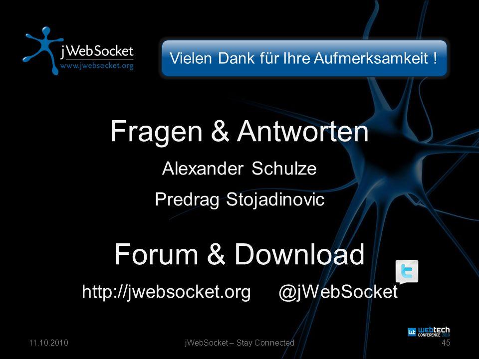 Vielen Dank für Ihre Aufmerksamkeit ! Fragen & Antworten Alexander Schulze Predrag Stojadinovic Forum & Download http://jwebsocket.org @jWebSocket jWe