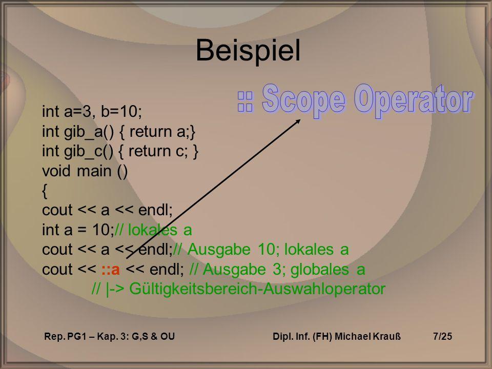 Rep. PG1 – Kap. 3: G,S & OUDipl. Inf.