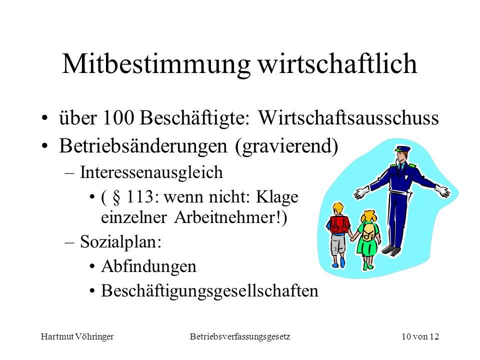 Hartmut VöhringerBetriebsverfassungsgesetz10 von 12 Mitbestimmung wirtschaftlich über 100 Beschäftigte: Wirtschaftsausschuss Betriebsänderungen (gravi