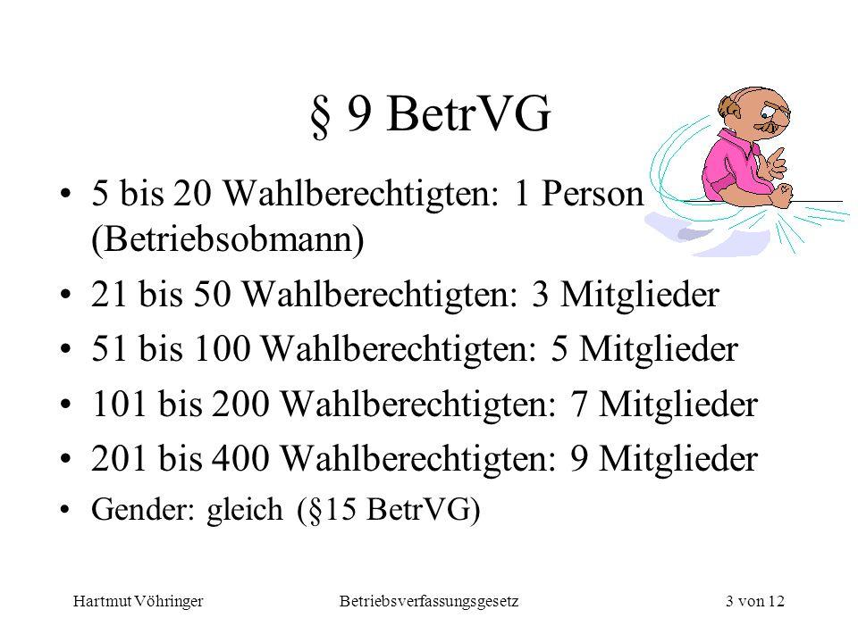 Hartmut VöhringerBetriebsverfassungsgesetz3 von 12 § 9 BetrVG 5 bis 20 Wahlberechtigten: 1 Person (Betriebsobmann) 21 bis 50 Wahlberechtigten: 3 Mitgl