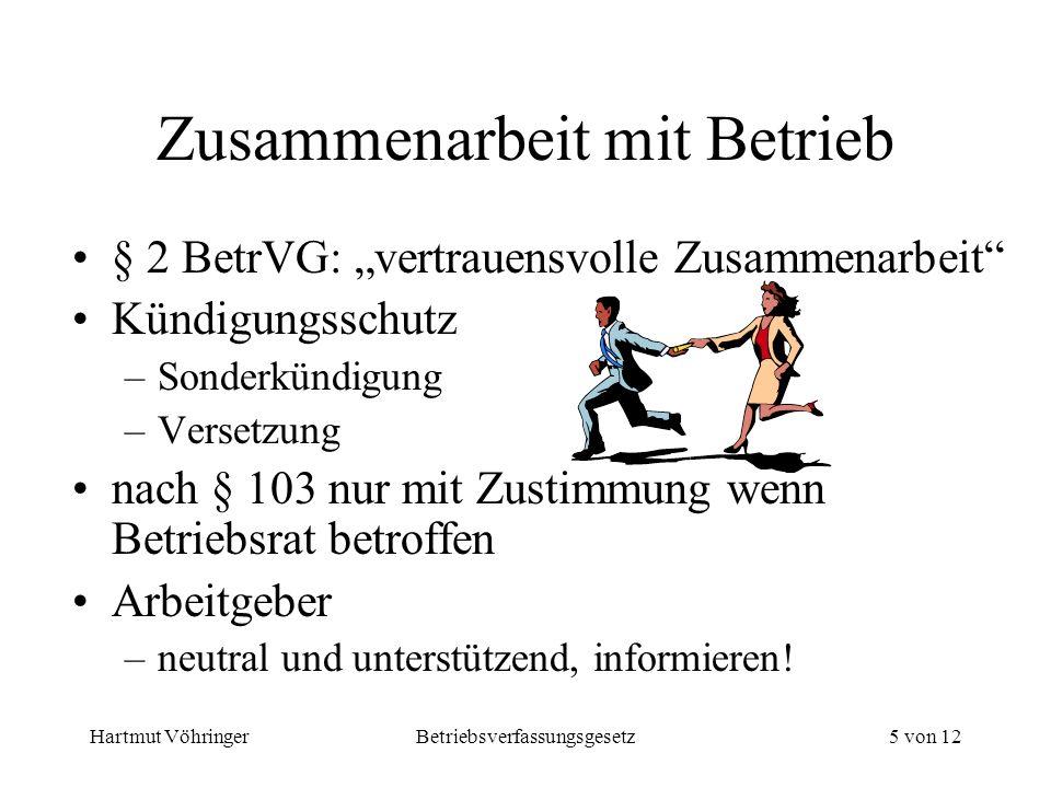 Hartmut VöhringerBetriebsverfassungsgesetz5 von 12 Zusammenarbeit mit Betrieb § 2 BetrVG: vertrauensvolle Zusammenarbeit Kündigungsschutz –Sonderkündi