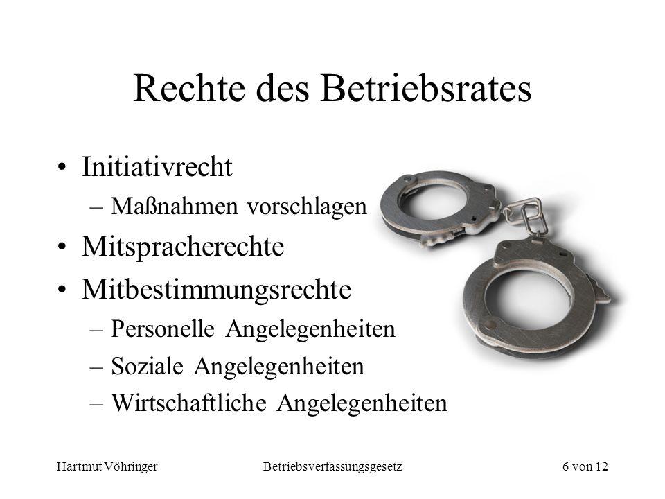 Hartmut VöhringerBetriebsverfassungsgesetz6 von 12 Rechte des Betriebsrates Initiativrecht –Maßnahmen vorschlagen Mitspracherechte Mitbestimmungsrecht