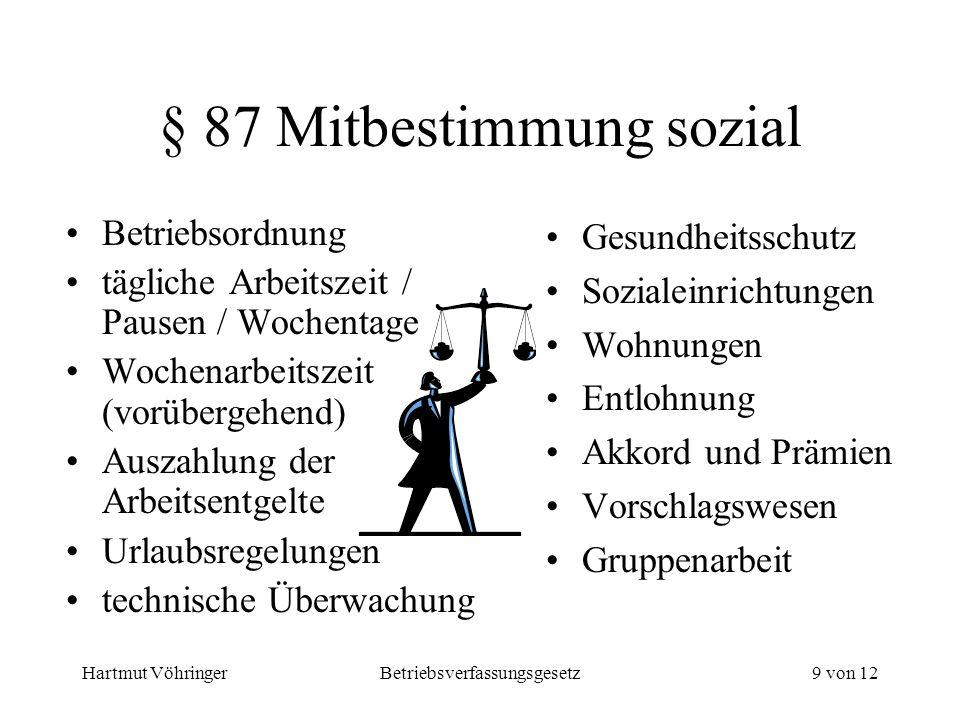 Hartmut VöhringerBetriebsverfassungsgesetz9 von 12 § 87 Mitbestimmung sozial Betriebsordnung tägliche Arbeitszeit / Pausen / Wochentage Wochenarbeitsz