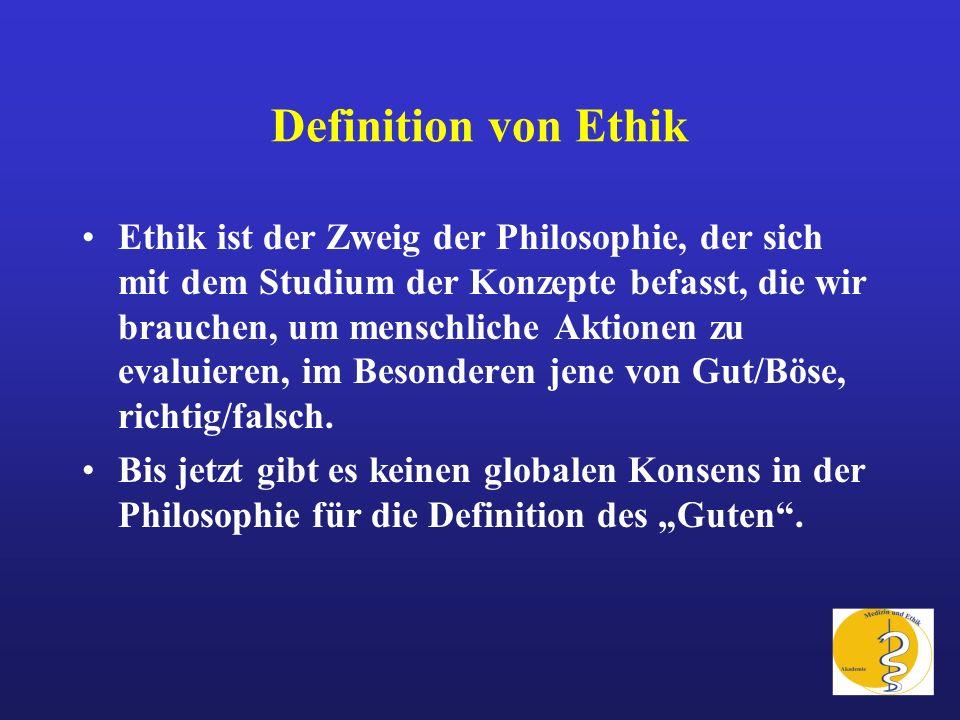 Definition von Ethik Ethik ist der Zweig der Philosophie, der sich mit dem Studium der Konzepte befasst, die wir brauchen, um menschliche Aktionen zu