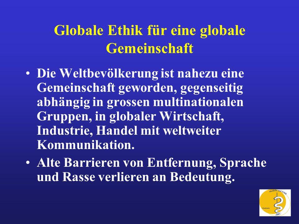 Globale Ethik für eine globale Gemeinschaft Die Weltbevölkerung ist nahezu eine Gemeinschaft geworden, gegenseitig abhängig in grossen multinationalen