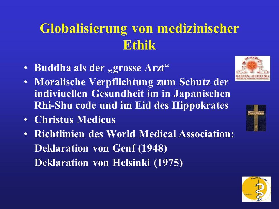 Globalisierung von medizinischer Ethik Buddha als der grosse Arzt Moralische Verpflichtung zum Schutz der indiviuellen Gesundheit im in Japanischen Rh