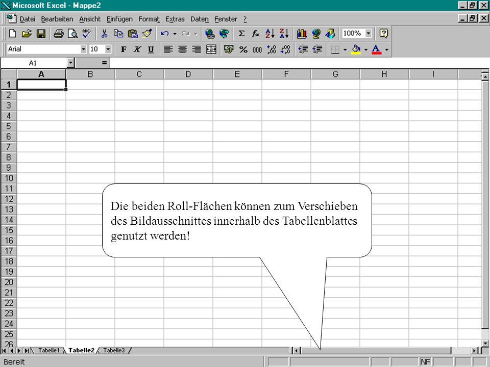 Die beiden Roll-Flächen können zum Verschieben des Bildausschnittes innerhalb des Tabellenblattes genutzt werden!
