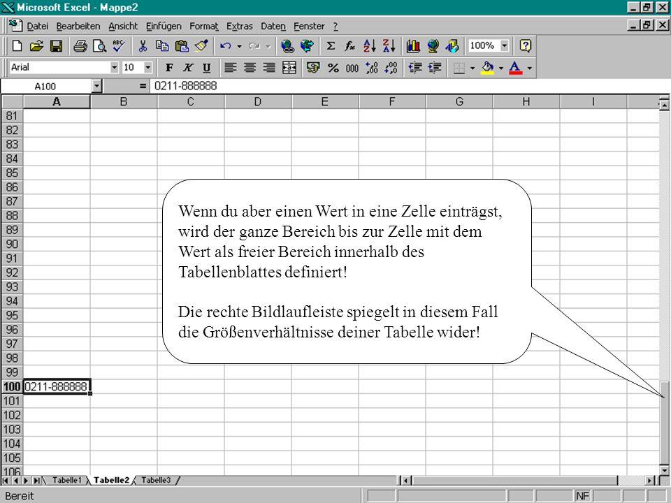 Um weit auseinander liegende Bereiche eines Datenblattes gleichzeitig zu sehen, bietet Excel die Möglichkeit der Fensterteilung.