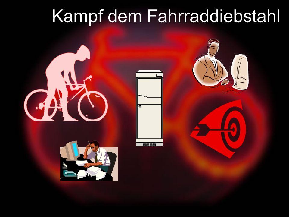 Das System: Nach einem Diebstahl werden die Fahrraddaten erfaßt und in einer Datenbank gespeichert Das Trefferszenario: Ein gefundenes Rad wird In die Datenbank eingegeben.