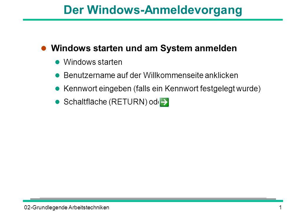 02-Grundlegende Arbeitstechniken1 Der Windows-Anmeldevorgang l Windows starten und am System anmelden l Windows starten l Benutzername auf der Willkom