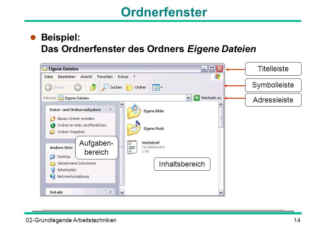 02-Grundlegende Arbeitstechniken14 Ordnerfenster l Beispiel: Das Ordnerfenster des Ordners Eigene Dateien Titelleiste Symbolleiste Adressleiste Inhalt