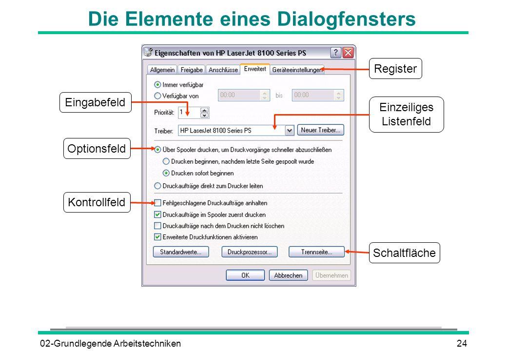 02-Grundlegende Arbeitstechniken24 Die Elemente eines Dialogfensters Einzeiliges Listenfeld Register Schaltfläche Optionsfeld Eingabefeld Kontrollfeld