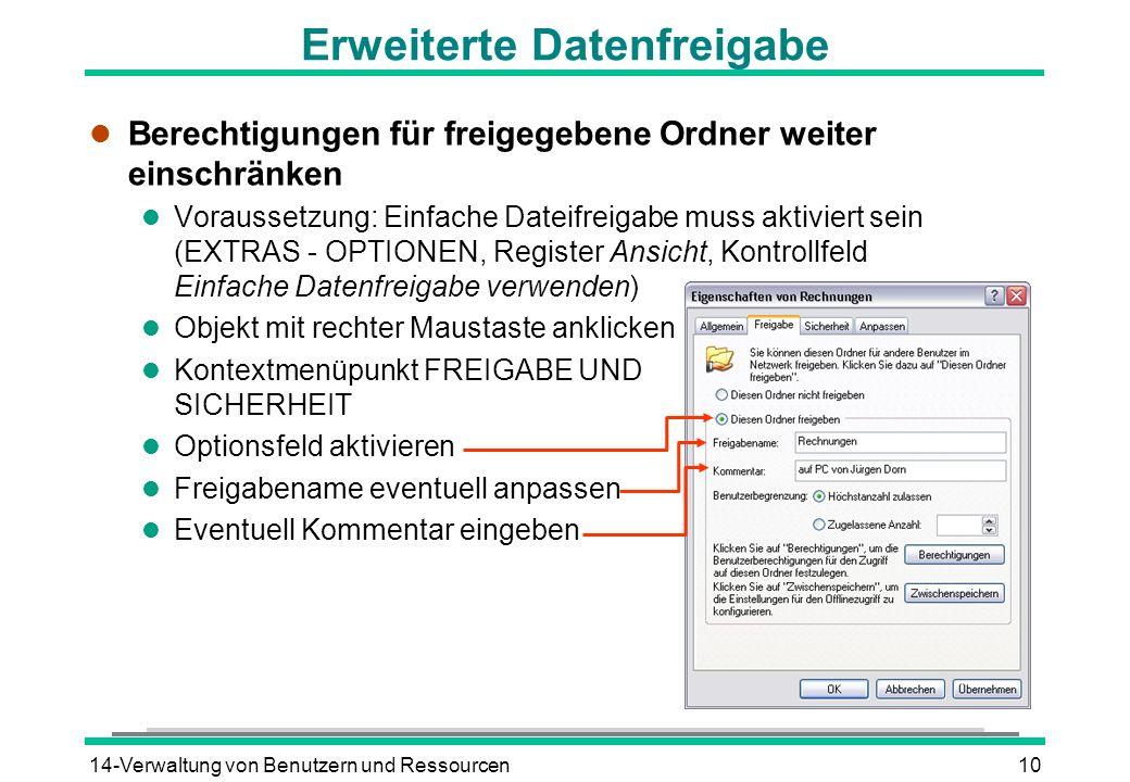 14-Verwaltung von Benutzern und Ressourcen10 Erweiterte Datenfreigabe l Berechtigungen für freigegebene Ordner weiter einschränken l Voraussetzung: Ei