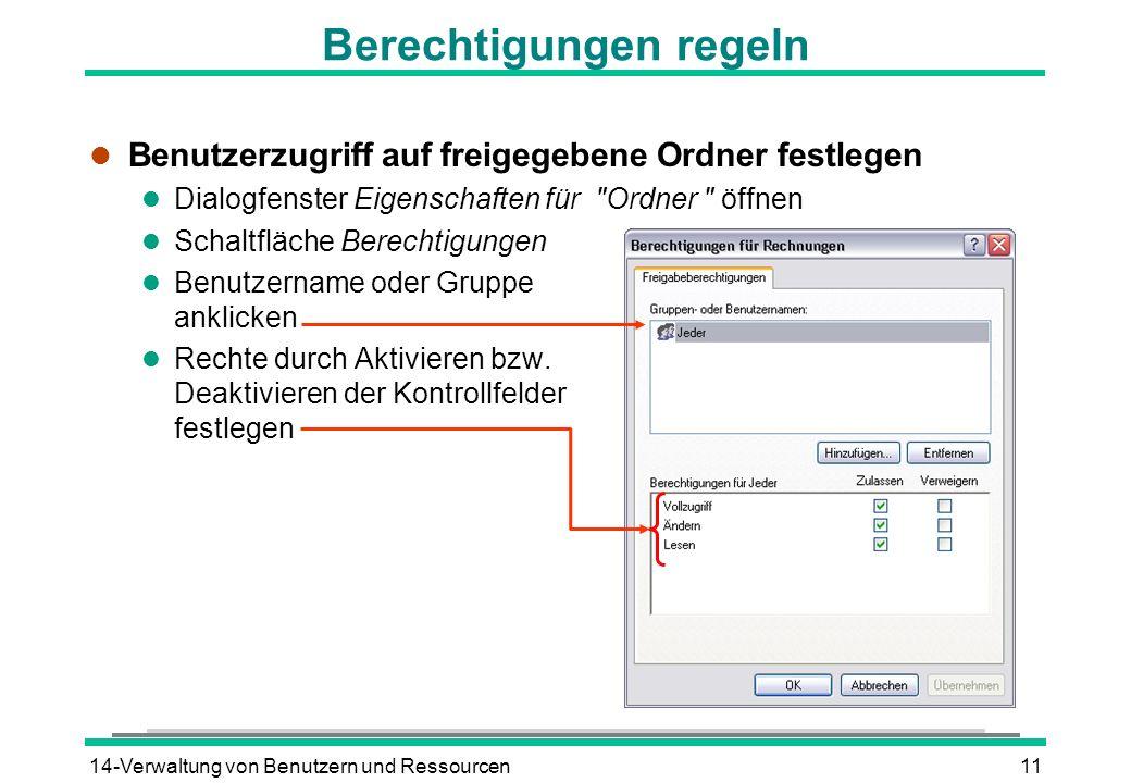 14-Verwaltung von Benutzern und Ressourcen11 Berechtigungen regeln l Benutzerzugriff auf freigegebene Ordner festlegen l Dialogfenster Eigenschaften f