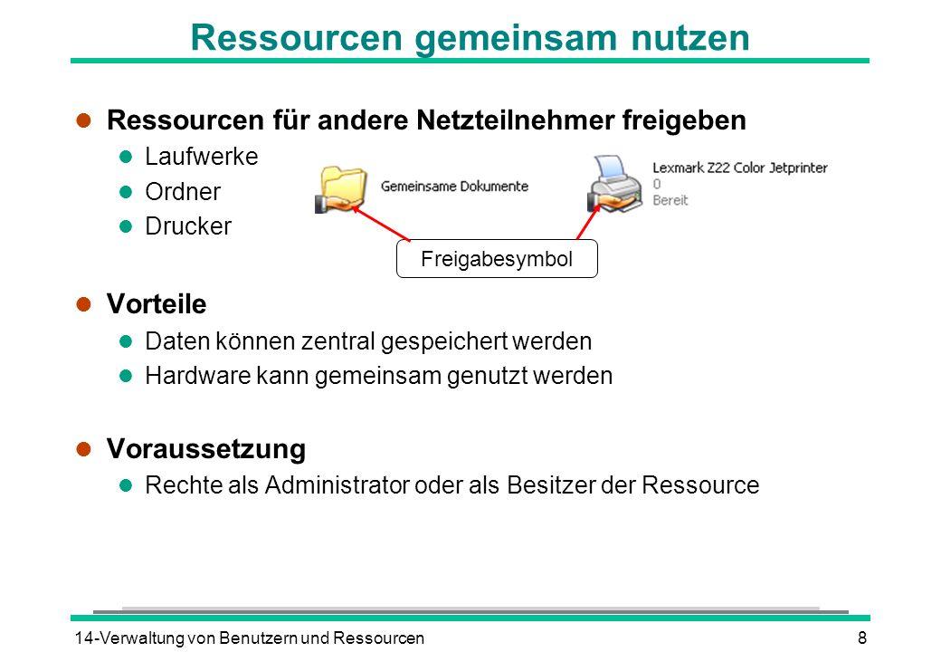 14-Verwaltung von Benutzern und Ressourcen8 Ressourcen gemeinsam nutzen l Ressourcen für andere Netzteilnehmer freigeben l Laufwerke l Ordner l Drucke