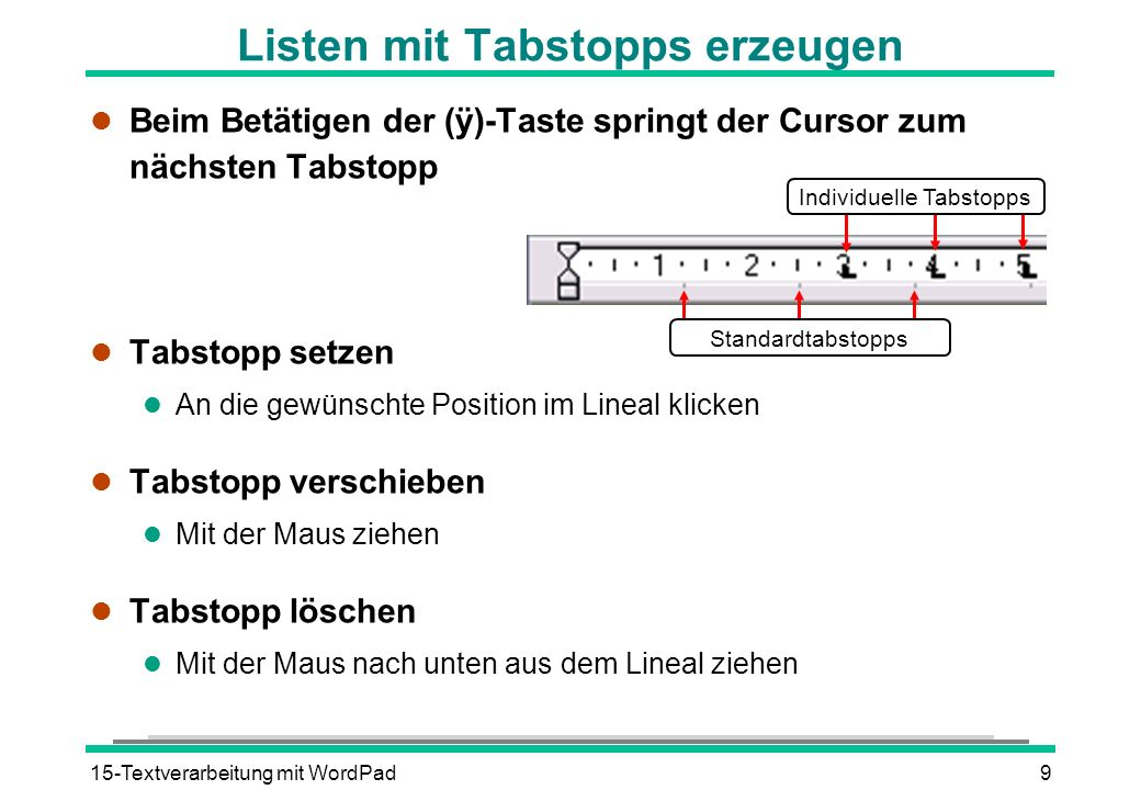 15-Textverarbeitung mit WordPad9 Beim Betätigen der (ÿ)-Taste springt der Cursor zum nächsten Tabstopp l Tabstopp setzen l An die gewünschte Position
