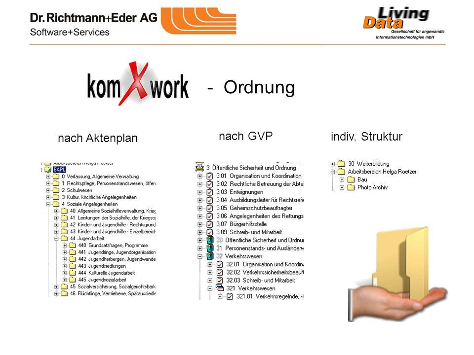 - Ordnung nach Aktenplan nach GVP indiv. Struktur