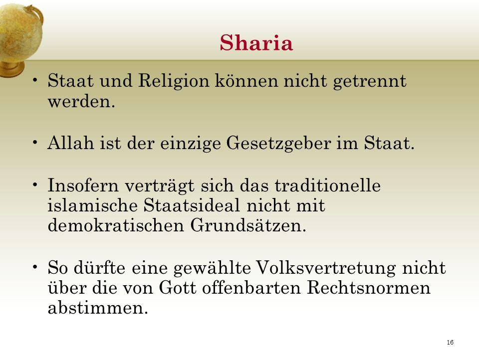 Sharia Staat und Religion können nicht getrennt werden.