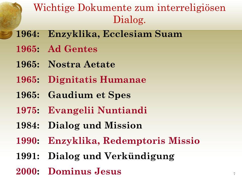Wichtige Dokumente zum interreligiösen Dialog.