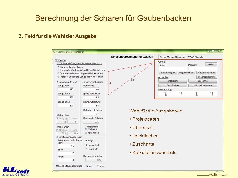 Berechnung der Scharen für Gaubenbacken Wahl für die Ausgabe wie Projektdaten Übersicht, Deckflächen Zuschnitte Kalkulationswerte etc. 3. Feld für die