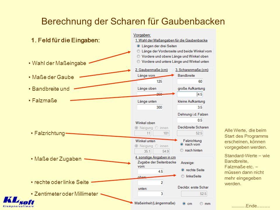 Berechnung der Scharen für Gaubenbacken 1. Feld für die Eingaben: Falzmaße Maße der Zugaben Falzrichtung rechte oder linke Seite Zentimeter oder Milli