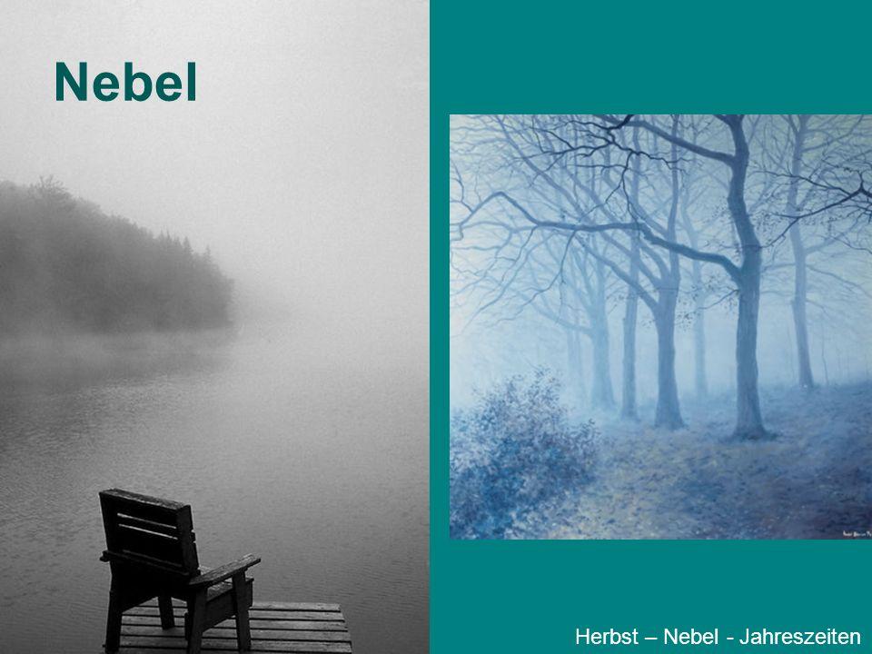 Nebel - Experiment Material: –Becherglas mit lauwarmem Wasser –schwarzer Hintergrund –Streichholz –Eisbeutel (Foto) Herbst – Nebel - Jahreszeiten