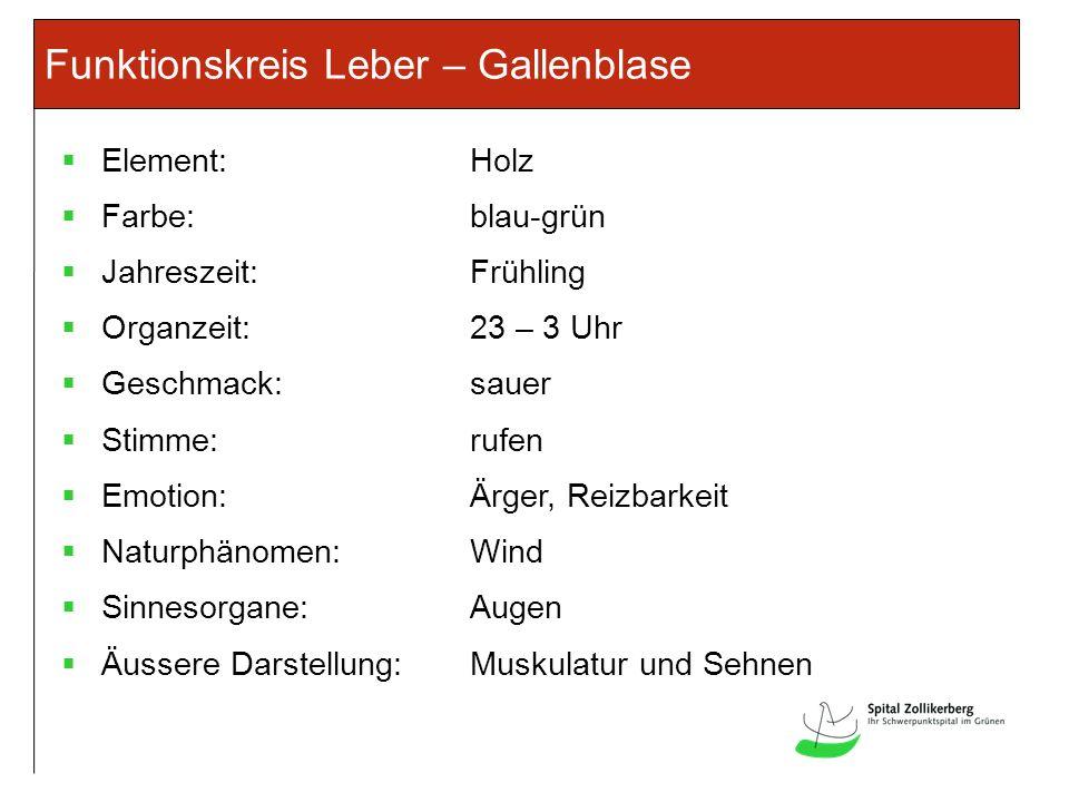 Funktionskreis Leber – Gallenblase Element:Holz Farbe:blau-grün Jahreszeit:Frühling Organzeit:23 – 3 Uhr Geschmack:sauer Stimme:rufen Emotion:Ärger, R