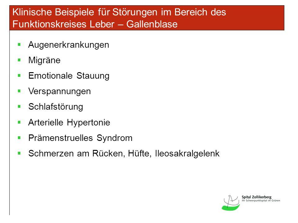 Klinische Beispiele für Störungen im Bereich des Funktionskreises Leber – Gallenblase Augenerkrankungen Migräne Emotionale Stauung Verspannungen Schlafstörung Arterielle Hypertonie Prämenstruelles Syndrom Schmerzen am Rücken, Hüfte, Ileosakralgelenk
