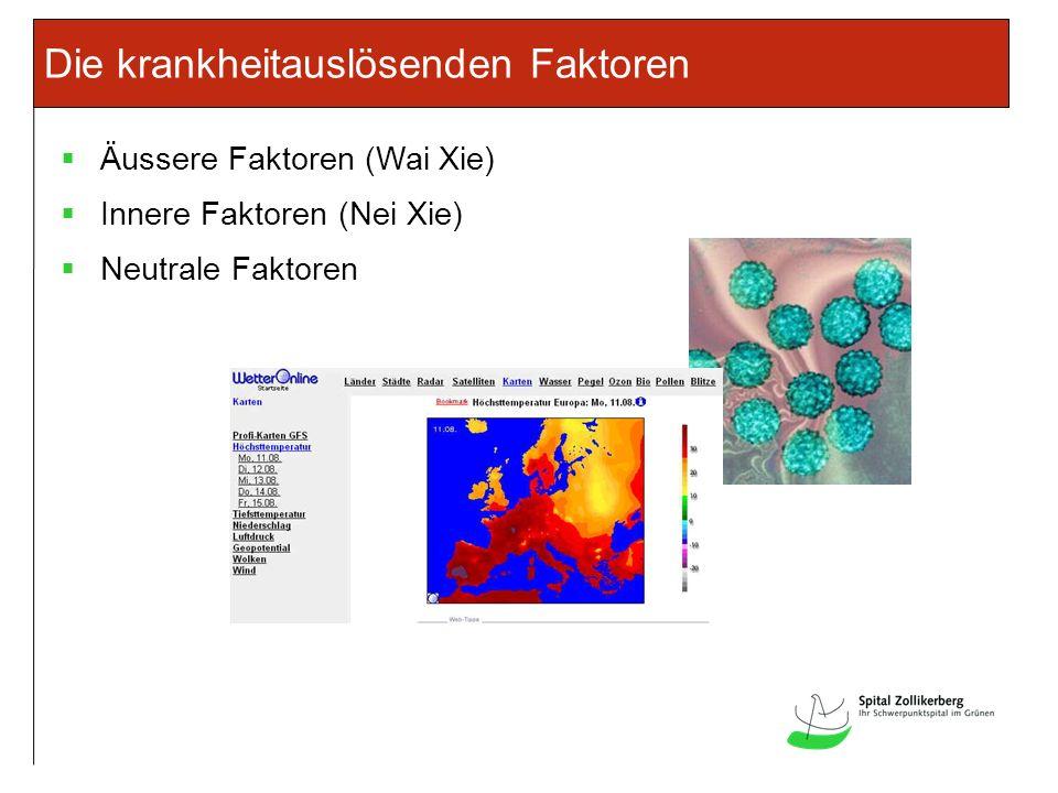 Die krankheitauslösenden Faktoren Äussere Faktoren (Wai Xie) Innere Faktoren (Nei Xie) Neutrale Faktoren