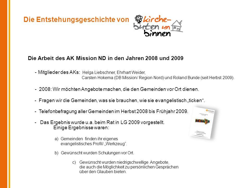 Die Entstehungsgeschichte von Die Arbeit des AK Mission ND in den Jahren 2008 und 2009 - Mitglieder des AKs: Helga Liebschner, Ehrhart Weider, Carsten