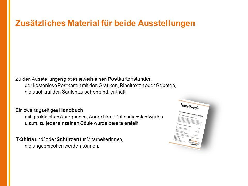 Zusätzliches Material für beide Ausstellungen Zu den Ausstellungen gibt es jeweils einen Postkartenständer, der kostenlose Postkarten mit den Grafiken