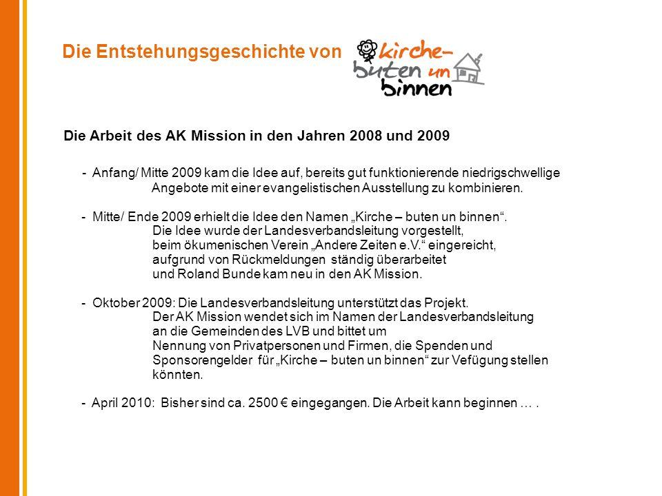 Die Entstehungsgeschichte von Die Arbeit des AK Mission in den Jahren 2008 und 2009 - Anfang/ Mitte 2009 kam die Idee auf, bereits gut funktionierende