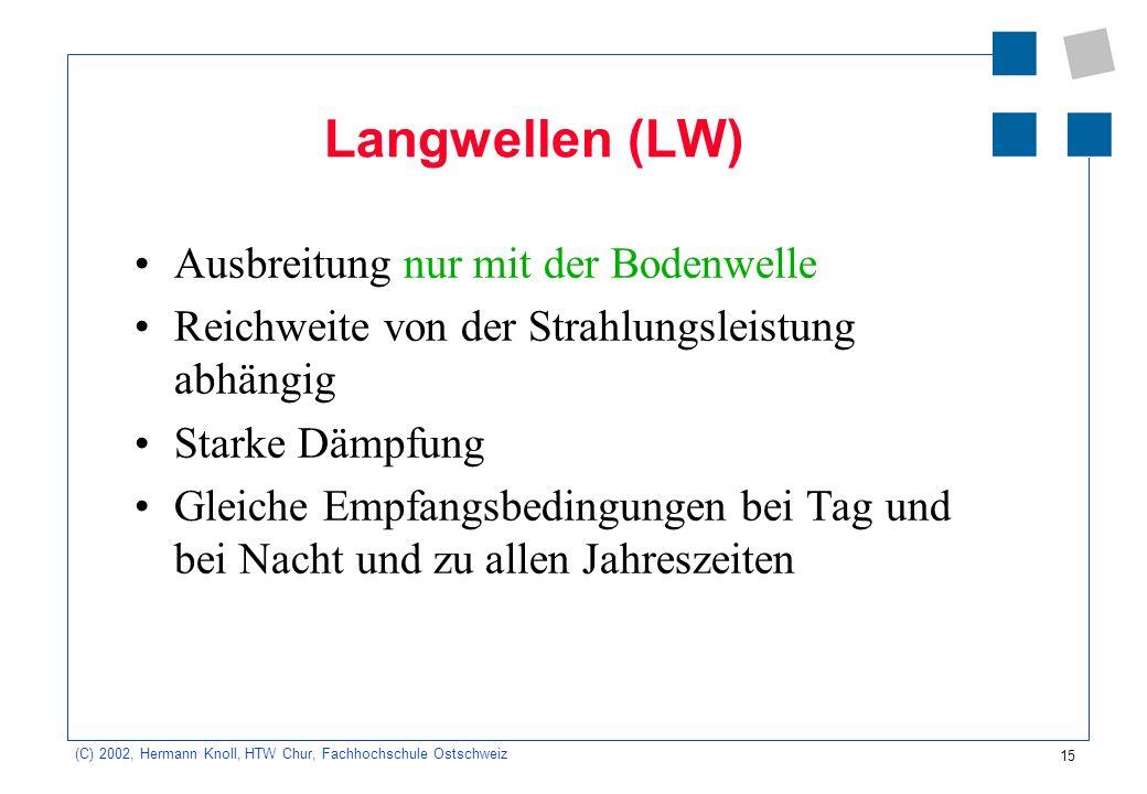 15 (C) 2002, Hermann Knoll, HTW Chur, Fachhochschule Ostschweiz Langwellen (LW) Ausbreitung nur mit der Bodenwelle Reichweite von der Strahlungsleistu