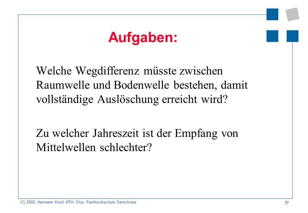 17 (C) 2002, Hermann Knoll, HTW Chur, Fachhochschule Ostschweiz Aufgaben: Welche Wegdifferenz müsste zwischen Raumwelle und Bodenwelle bestehen, damit