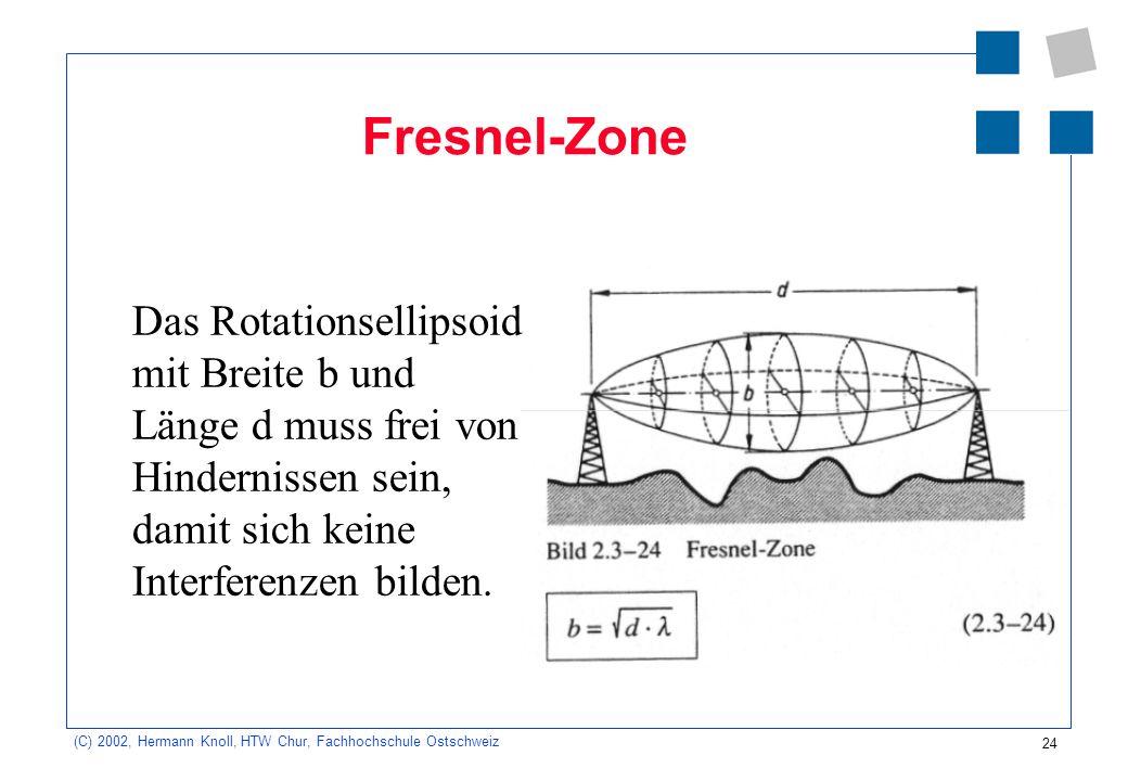 24 (C) 2002, Hermann Knoll, HTW Chur, Fachhochschule Ostschweiz Fresnel-Zone Das Rotationsellipsoid mit Breite b und Länge d muss frei von Hindernisse