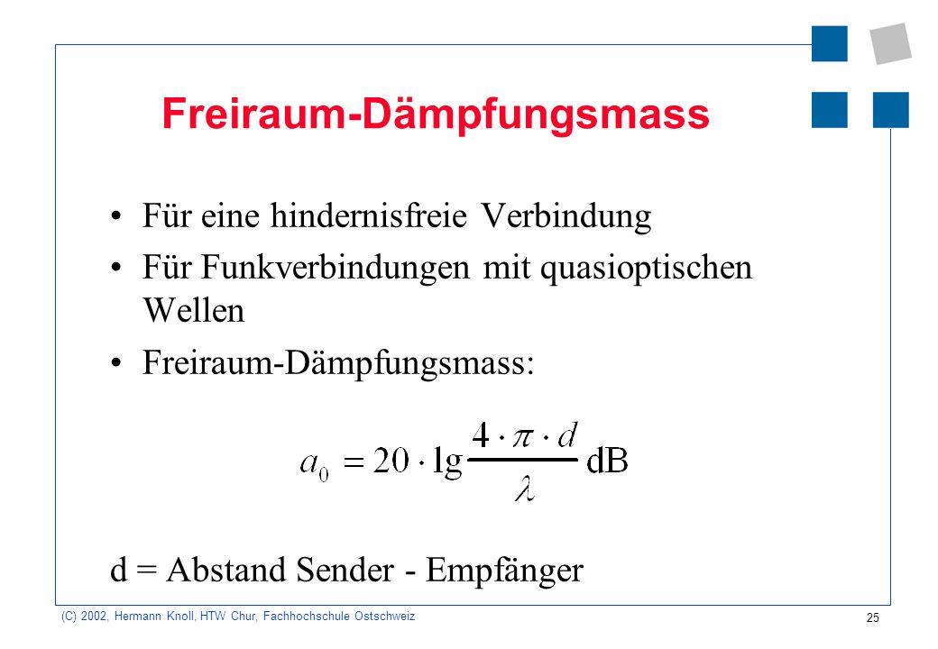 25 (C) 2002, Hermann Knoll, HTW Chur, Fachhochschule Ostschweiz Freiraum-Dämpfungsmass Für eine hindernisfreie Verbindung Für Funkverbindungen mit qua