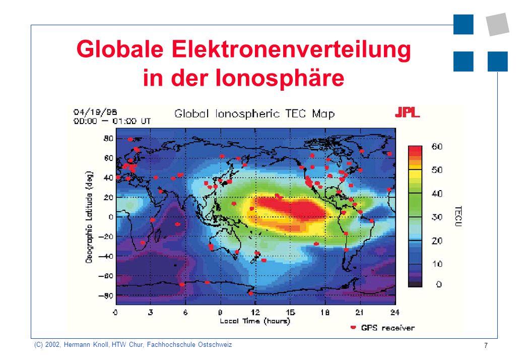 7 (C) 2002, Hermann Knoll, HTW Chur, Fachhochschule Ostschweiz Globale Elektronenverteilung in der Ionosphäre