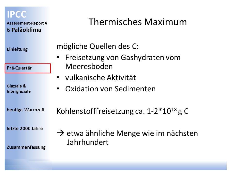 IPCC Assessment-Report 4 6 Paläoklima Einleitung Prä-Quartär Glaziale & Interglaziale heutige Warmzeit letzte 2000 Jahre Zusammenfassung Thermisches M