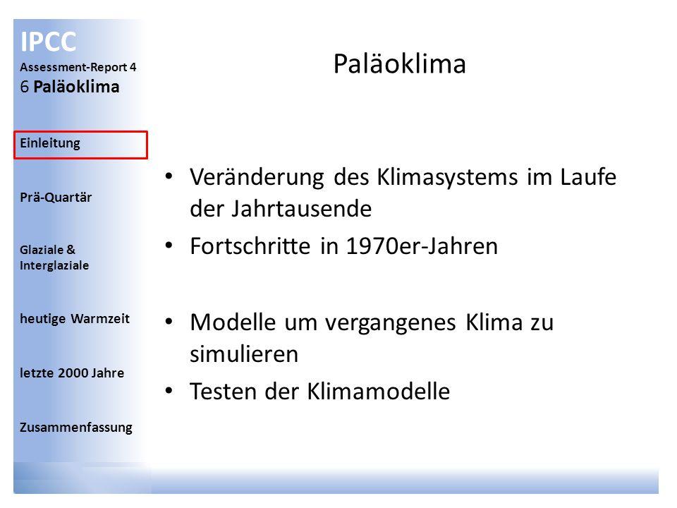IPCC Assessment-Report 4 6 Paläoklima Einleitung Prä-Quartär Glaziale & Interglaziale heutige Warmzeit letzte 2000 Jahre Zusammenfassung Einleitung Proxies: Eisbohrkerne Pollen Baumjahresringe Plankton Sediment Nicht eine Methode/Proxy, sondern mehrere