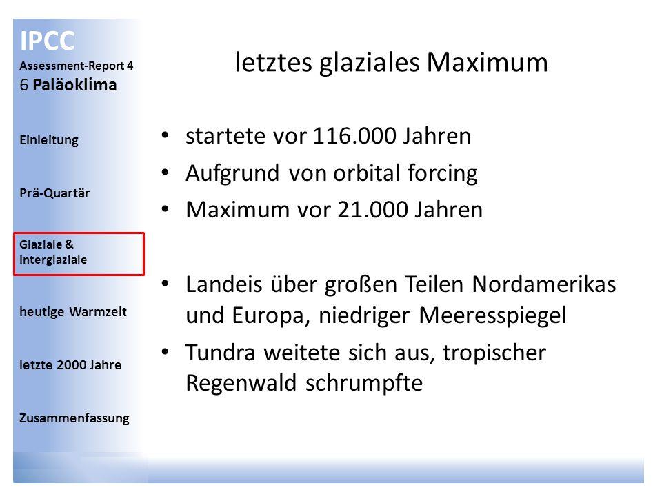 IPCC Assessment-Report 4 6 Paläoklima Einleitung Prä-Quartär Glaziale & Interglaziale heutige Warmzeit letzte 2000 Jahre Zusammenfassung letztes glazi