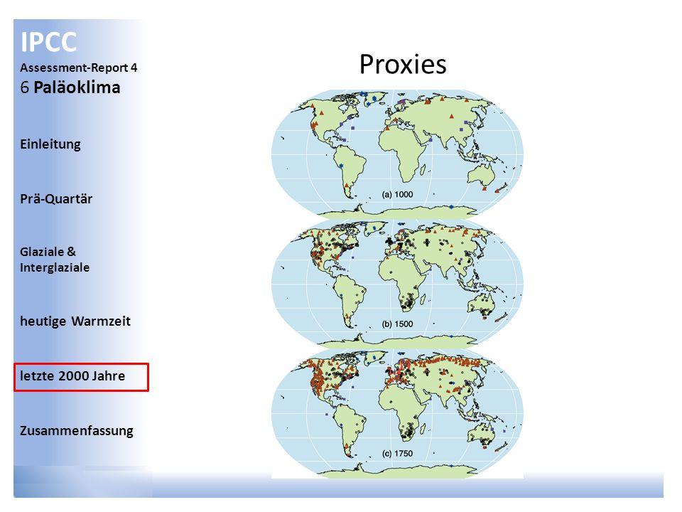 IPCC Assessment-Report 4 6 Paläoklima Einleitung Prä-Quartär Glaziale & Interglaziale heutige Warmzeit letzte 2000 Jahre Zusammenfassung Proxies