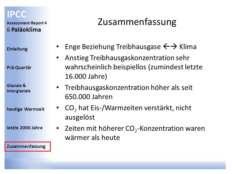 IPCC Assessment-Report 4 6 Paläoklima Einleitung Prä-Quartär Glaziale & Interglaziale heutige Warmzeit letzte 2000 Jahre Zusammenfassung Enge Beziehun
