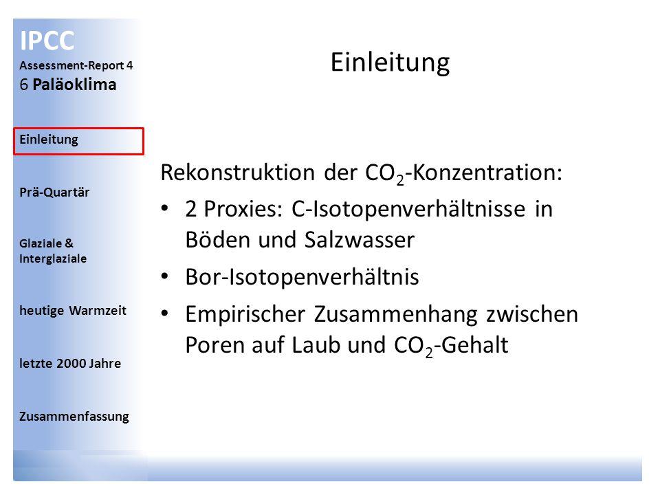 IPCC Assessment-Report 4 6 Paläoklima Einleitung Prä-Quartär Glaziale & Interglaziale heutige Warmzeit letzte 2000 Jahre Zusammenfassung Datieren der Funde Schlechter je weiter zurück Methoden haben spezifische Perioden
