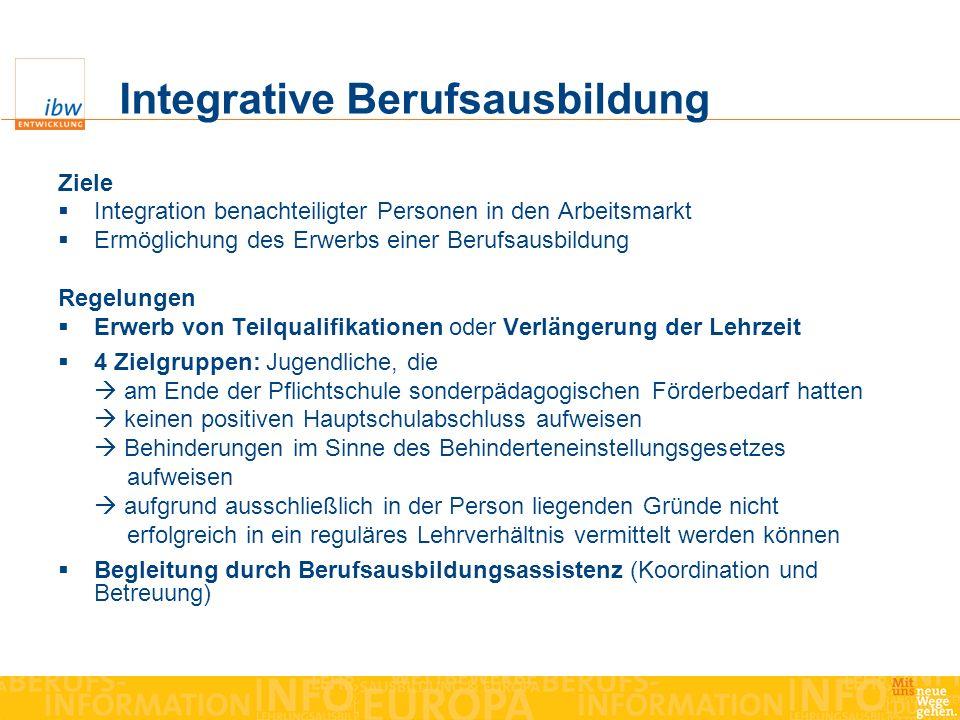 Integrative Berufsausbildung Ziele Integration benachteiligter Personen in den Arbeitsmarkt Ermöglichung des Erwerbs einer Berufsausbildung Regelungen