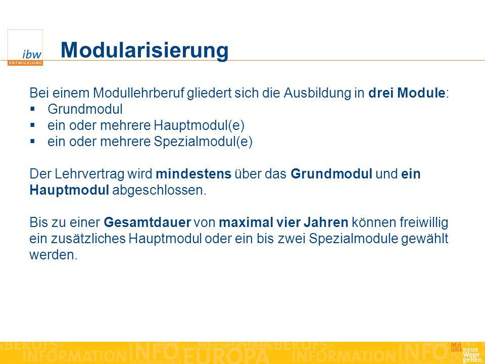 Modularisierung Bei einem Modullehrberuf gliedert sich die Ausbildung in drei Module: Grundmodul ein oder mehrere Hauptmodul(e) ein oder mehrere Spezi