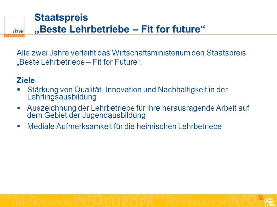 Staatspreis Beste Lehrbetriebe – Fit for future Alle zwei Jahre verleiht das Wirtschaftsministerium den Staatspreis Beste Lehrbetriebe – Fit for Futur