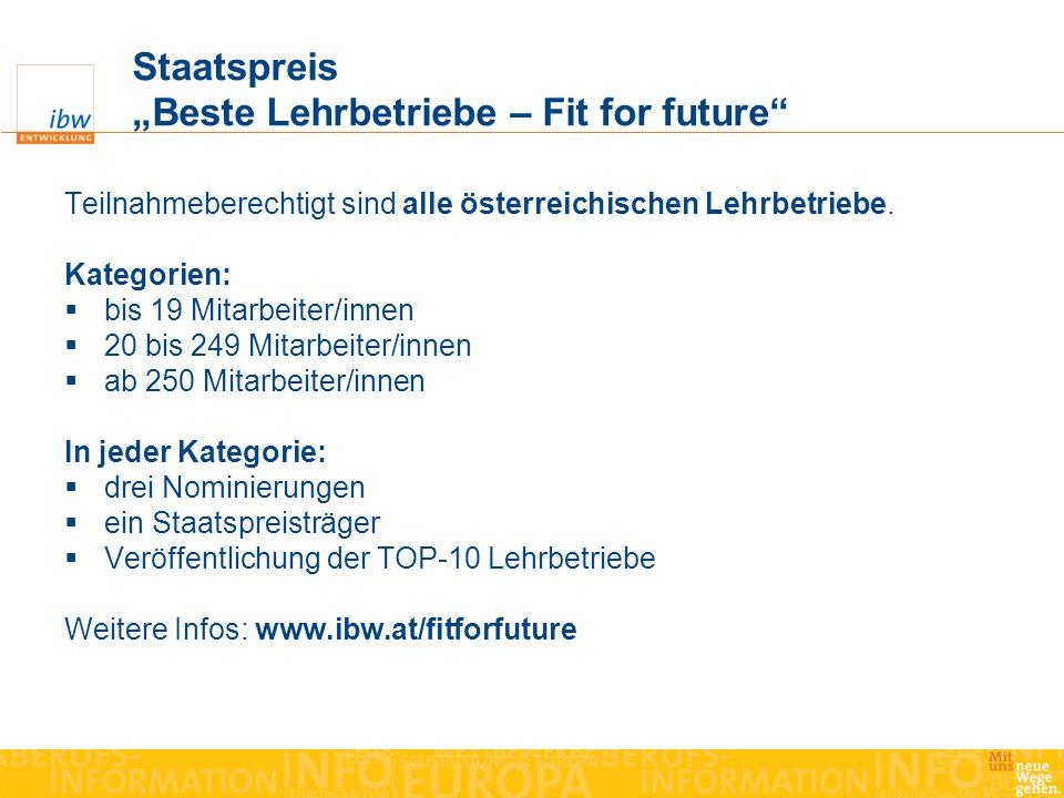 Staatspreis Beste Lehrbetriebe – Fit for future Teilnahmeberechtigt sind alle österreichischen Lehrbetriebe. Kategorien: bis 19 Mitarbeiter/innen 20 b